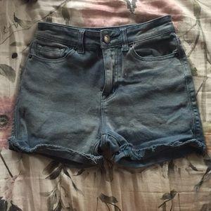 BDG acid wash blue high rise shorts